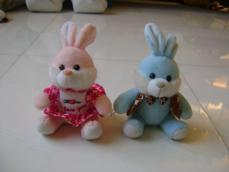 22cm beautiful promotional customized soft stuffed plush couple rabbit wild animal toy with colorful vest&skirt