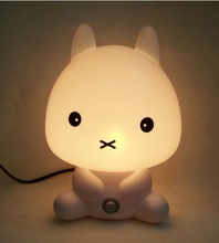 New Baby Bedroom Lamps Cartoon Pets Rabbit Panda PVC Plastic Sleep Led Kids Lamp Bulb Night Light for Children