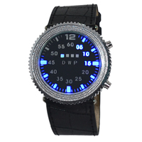 2015 new model blue&multi color ball rolling lights men sport clock black leather led watch