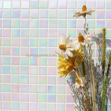 Factory directly sale pearl color mosaic iridescent blue mosaic glass tile linear glass mosaic tiles