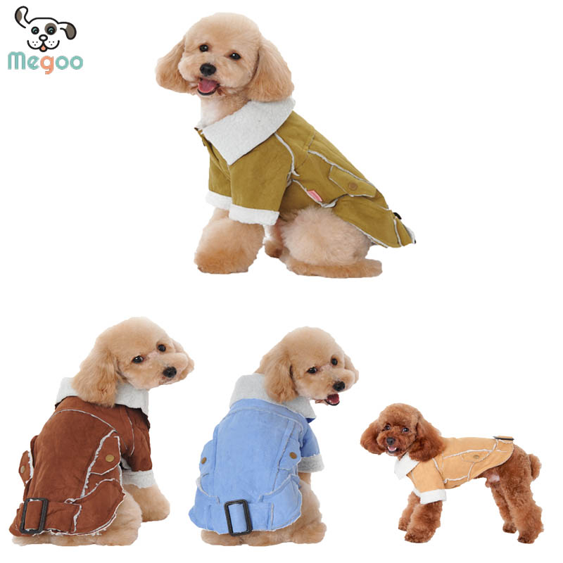 Berber Fleece Dog Coats Turn-Down Collar Pet Puppy Clothes Winter