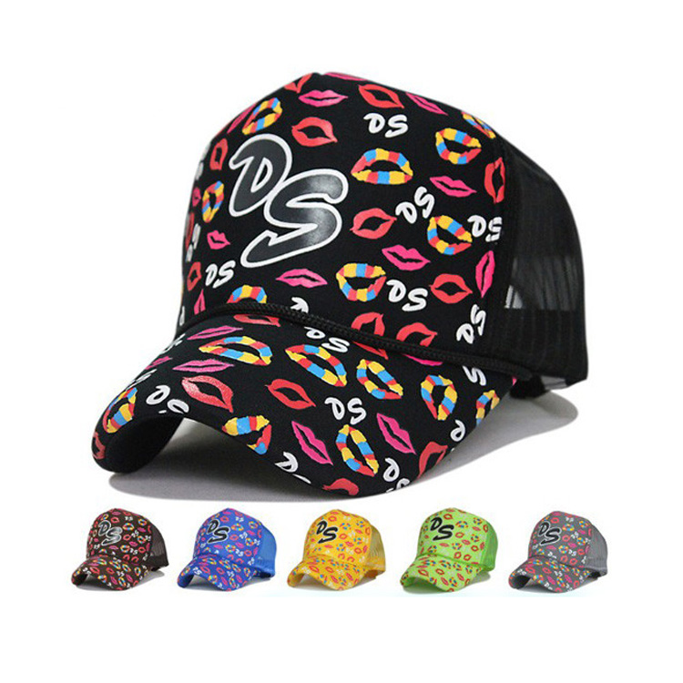 Customized multicolor short bill women swim rope trucker mesh cap