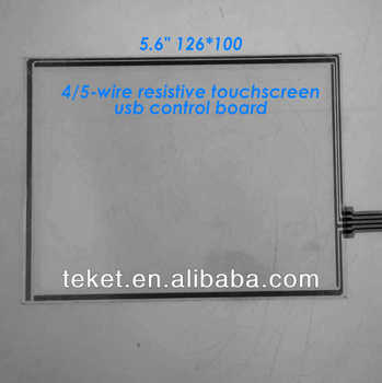 "5.6"" 126*100mm 4-wire 5-wire resistive touchscreen with com/serial control board, 5.6 inch lcd lvds touchscreen"