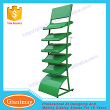 outdoor green grass exhibition 5 tier metal display stand with undulating layer board