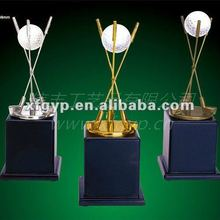 sport souvenir metal trophy cup, golf ball and golf stick