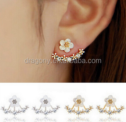 New hot sale fashion korean style crystal double sided flower stud earrings