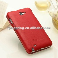 red cow skin litchi leather case for Samsung galaxy Note i9220