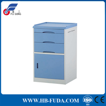 Hospital furniture ABS beside medical cabinet and table with wheels and 2 drawers