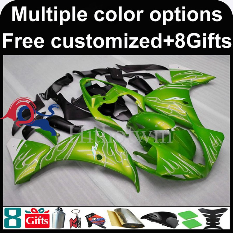 green motorcycle cowl for Yamaha YZF-<strong>R1</strong> 2009-<strong>2011</strong> 09 10 11 YZFR1 2009 2010 <strong>2011</strong> ABS Plastic Fairing
