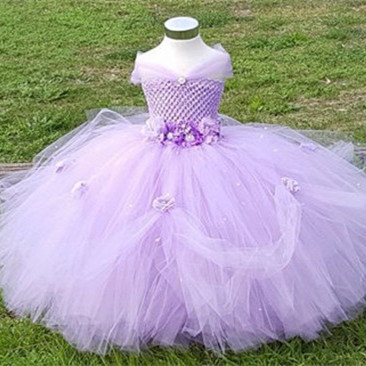 Flower Girls Dress Bridesmaid Wedding Party Handmade Tutu Girl Princess Dresses for Kids