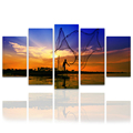 5 Panel Sea View Fishing Photo Canvas Painting Sunset Landscape Wall Picture for Living Room/SJMT1932