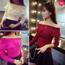 Autumn and Winter Basic Sweater Female Sexy Slit Neckline Strapless Pullover Sweater Ruffled Collar Slim Tops for Women Ladies