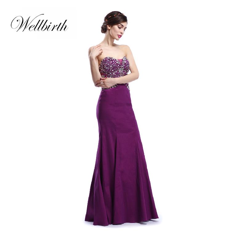 High Quality Cheap Purple Heavy Beaded Evening Dress Mermaid Style