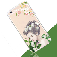 Fashion custom design painted Ultrathin tpu soft clear Case For Samsung Galaxy S4 S5 i9600 for iphone7 beautiful girl back cover