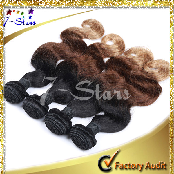 Best Sell Virgin Remy Three Tone #1B/#4/#27 Peruvian ombre human hair weave
