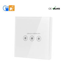 RF 3-Gang Wall Touch Smart Light Switch OEM home automation ultra low power smart light switch