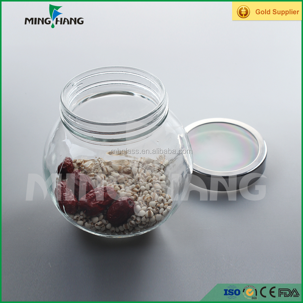 200ml fancy storage clear candy glass jar with double bottoms and metal lid wholesale