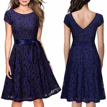 Amazon hot style European and American lady autumn and winter lace evening dress