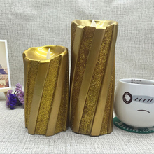 Wax Flameless LED Light Candles with Golden Glitter Powder