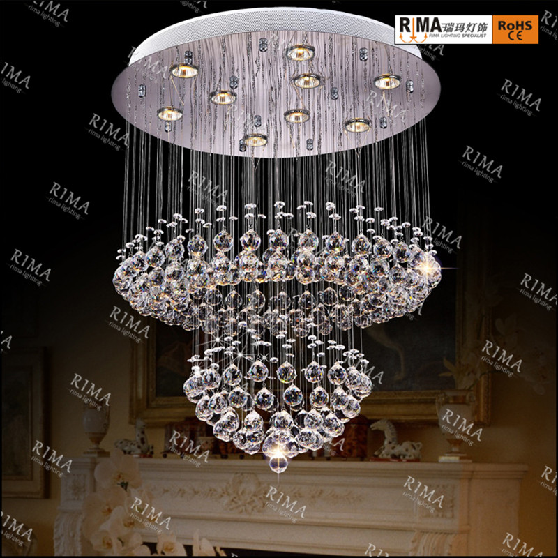 Hot sale LED K9 clear round modern crystal chandelier LED pendant crystal celling drop hanging lamp