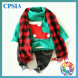 Green Red Christmas Winter Cashmere Scarf Set Children Fleece Warm Winter Clothing set