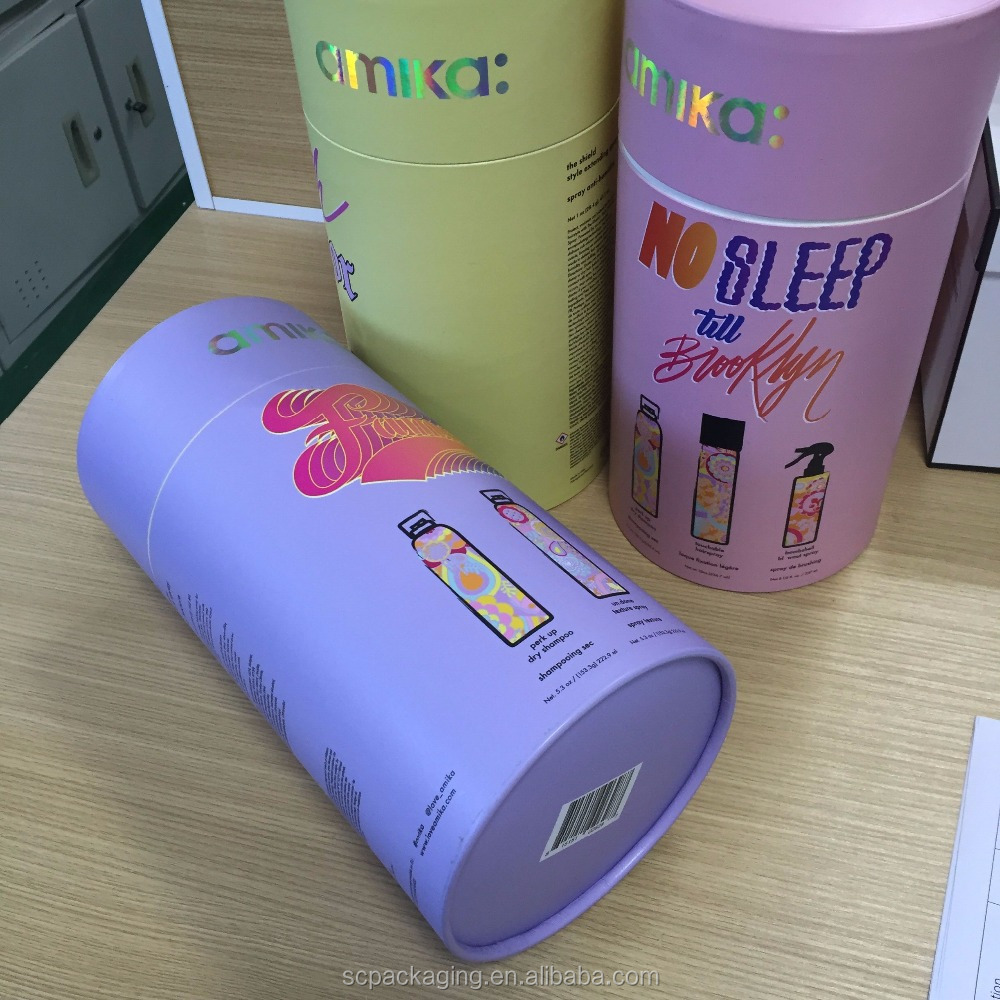 Cardboard paper tube box packaging with lid