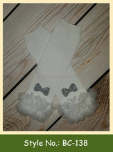 BC-138 hot sale solid color white soft baby leg warmers with lace