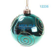 Clear Hand- painted christmas glass ball with beautiful imprint