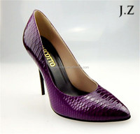 OP13 wholesale lady pointed toe purple snake print 10cm heel party dress shoes for women