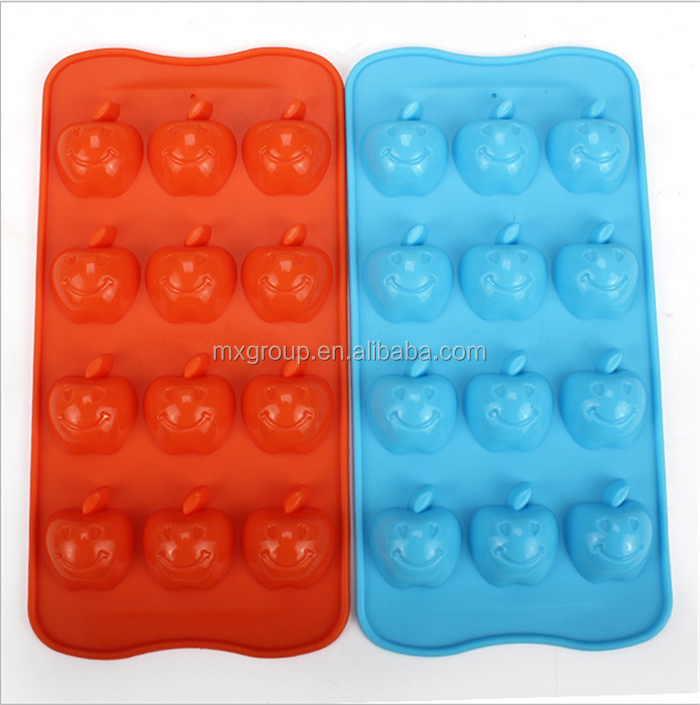New baking tools Food kitchen silicone products Apple's smiling face shape ice mold DIY ice cube tray