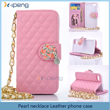 Luxury Pearl necklace style Leather PU prints flip cover for Vivo v1,Crystal string flip cover case for vivo v1