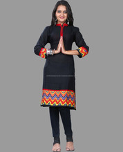Black Cotton ethnic smart kurtis for exports / Long Kurtis