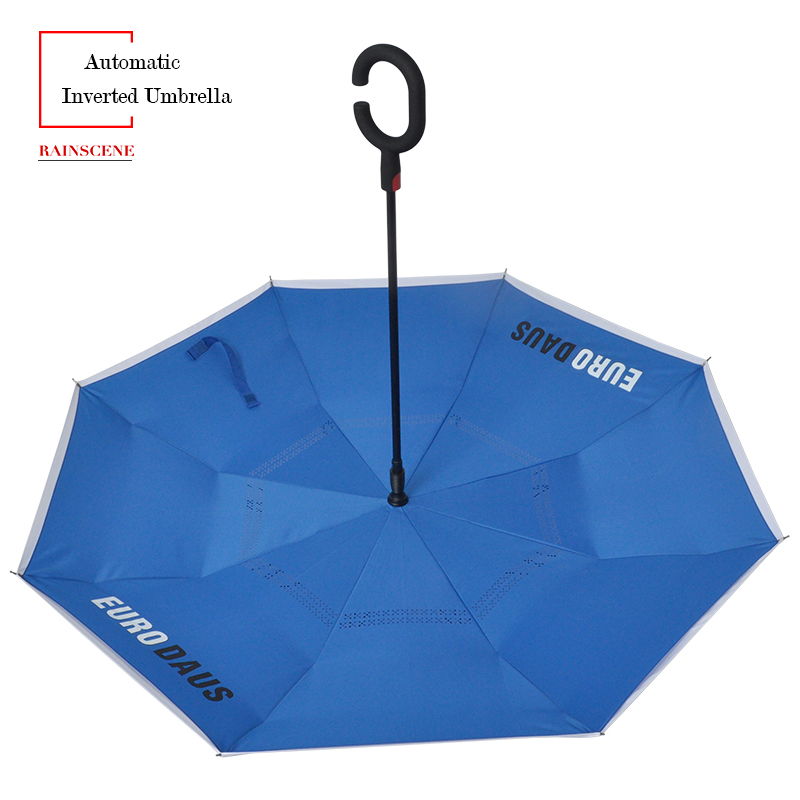 Customized Upside-down C Handle Automatic Reverse Umbrella