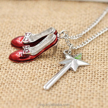 Wizard of Oz Ruby Slippers and Wand Pendant Necklace Wholesale