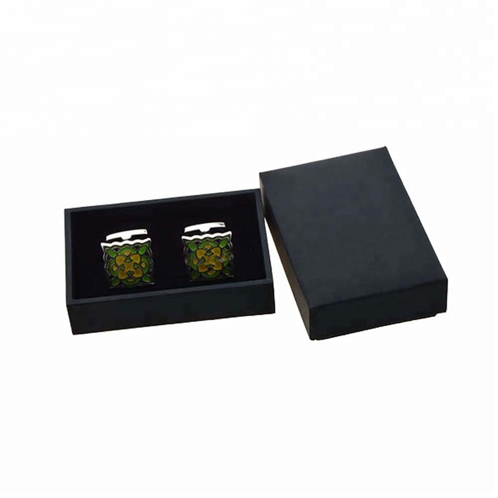 Simple small leather black cufflink box