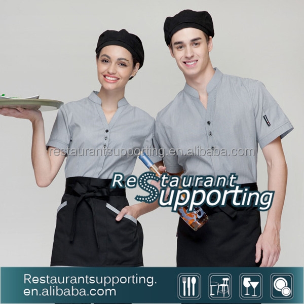 High quality Custom Chinese Restaurant Uniforms Waiter Clothes Wholesale For Waiter And Waitress