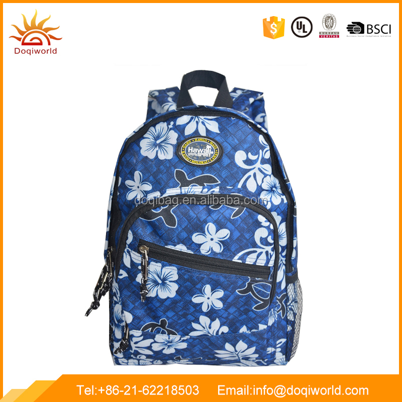fashionable Backpack with Zipper Pocket and flower printing