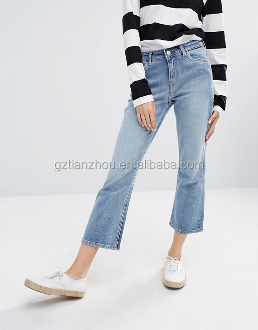 Good Quality Mid Rise Cropped Kick Flare Jeans Fashion Ladies Denim Jeans