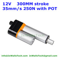 300mm stroke 35mm/s 250N load 12V 24V DC New waterproof linear actuator with potentiometer POT signal feedback