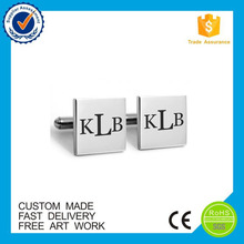 Factory directly custom letter sliver cufflinks with your own logo