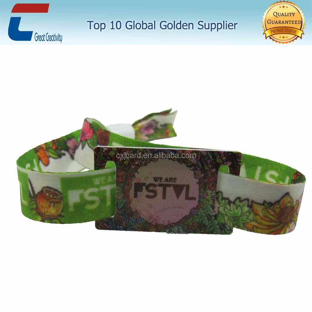 rfid smart chip disposable festival woven/fabric/pvc wristband with loop locks