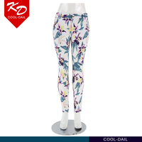 2015 Wholesale fashion elastic fitness flower print women latest ladies trousers