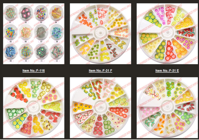wholesale Mix Animal&Fruit&Flower Shape Nail Art Fimo Slices 3DF12
