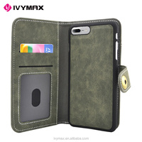 2017 IVYMAX New design Universal PU leather phone wallet case for Iphone 7 plus credit card case with strong absorption