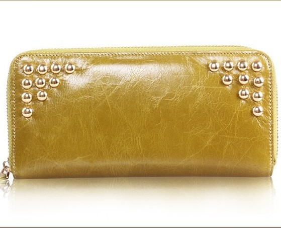 New Women Leather Long Wallet Rivet Zipper Clutch Bag Money Case Lady Purse