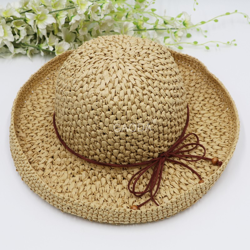 Fashion women 100% hand crochet paper straw sunshade hats
