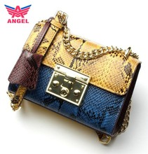 2017 Luxury latest design snake pattern ladies cross body jing pin leather bags
