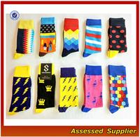 FXS130 Cheap High Quality Combed Cotton Mens Happy Dress socks Colorful Custom Socks