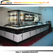Aesthetic modern L-shape acrylic solid surface breakfast bar counter