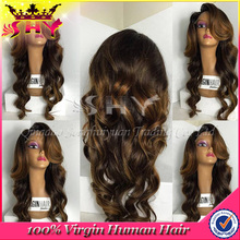Elegant hand made virgin human hair natural wig curly for black woman
